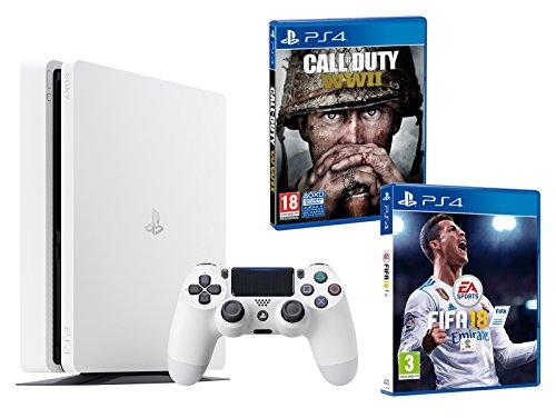 PS4 Slim 500Gb Blanca Playstation 4 Consola - Pack 2 Juegos - FIFA 18 + Call of...