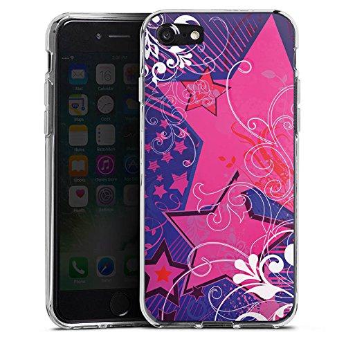 Apple iPhone X Silikon Hülle Case Schutzhülle Muster Sterne Blumen Silikon Case transparent