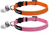PUPTECK 2pcs/set Safety Nylon Reflective Cat Collar Breakaway Adjustable Cats Collars with Bell and Bling Paw Charm, Light Pink & Orange
