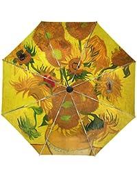 ALAZA Pintura al óleo Girasoles de Van Gogh viaje paraguas de apertura automática Cerca de Protección