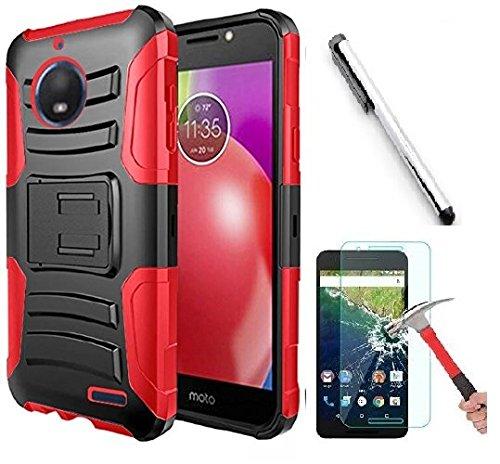 luckiefind Fall kompatibel Motorola Moto E5Plus/Moto E5Supra, Dual Layer Hybrid Seite Ständer Schutzhülle Clip Zubehör, Red Motorola Cell Phone Faceplates