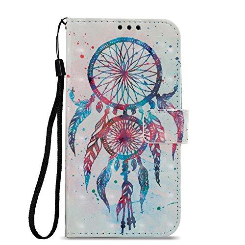 Felfy Okssud Carcasa LG K10 2017 Cuero,Funda LG K10 2017 Billetera,Pintado Diseño Color Pluma Patrón Flip Wallet PU Case Stand Magnético Card Slots
