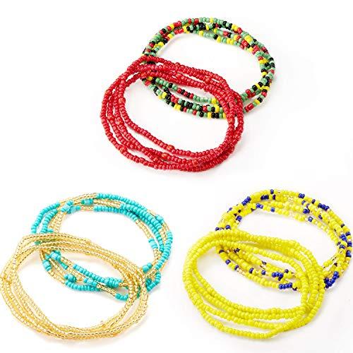 6 Stücke Sommer Schmuck Taille Perle Set, Bunte Taille Perle, Bauchperle, Afrikanische Taille Perle, Körperkette, Perlen Bauchkette, Bikini Schmuck für Damen Mädchen - Taille Perlen