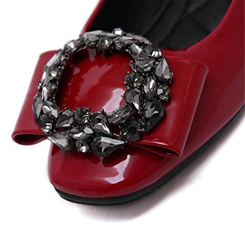 Donne delle nuove moda di svago Scarpe singole Scarpe quadrate Shallow Bocca brevettata in pelle Rhinestones Pumps Scarpe da corsa Black Red Fall Spring Party Work Red