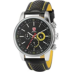 Shark Mens 6 Hands Date Black Yellow Sport Quartz Watch + Box SH095