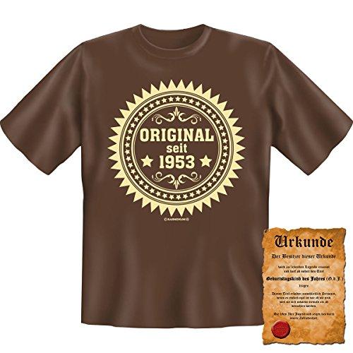Original seit 1953! Geburtstag Fun T-Shirt in Braun mit Gratis Urkunde! Braun