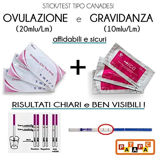 50 Test Ovulazione 20 mlU/Lm + 6 Test Gravidanza 10 mLu/Lm Ultrasensibili Strisce Test Urina