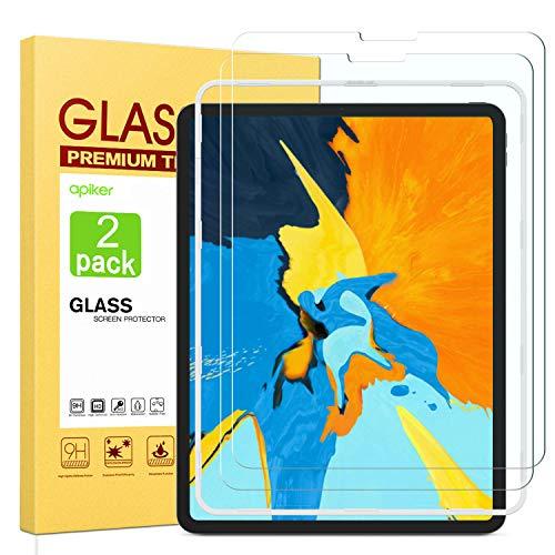 Apiker [2 Stück] Schutzfolie für iPad Pro 11, iPad Pro 11 Panzerglas, 9H Härte, Bläschenfrei, 2.5D abgerundet Kante, einfach anzubringen