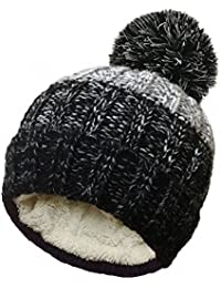 Unisex Cable Knitted Stripe Ski Hats with Large Pom Pom by Rockjock