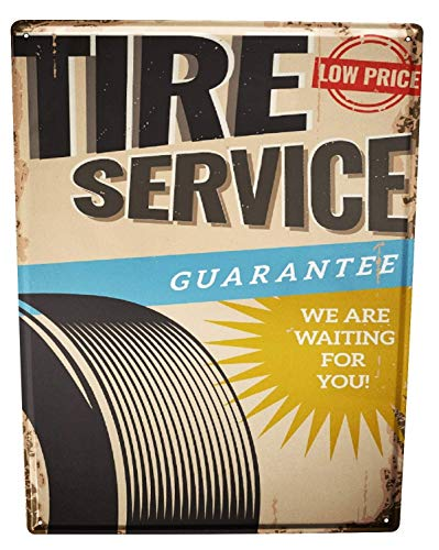Metal Sign 12x16 Inches Poster Plaque Tin Plate Vintage Plaque Garage Tire Service Gas Stations Vintage - Gas Station Sign Display