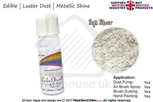 Pure Metallic Effekt Glanz Shimmer Staub | 100% Essbar | Soft Silver | 4Gramm | Kostenlose...
