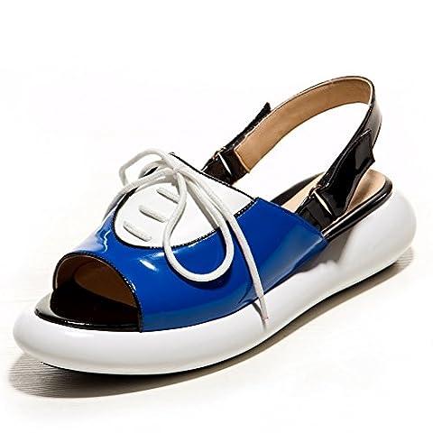 Adee Mesdames cross-body-strap couleurs assorties en cuir Sandales - Bleu
