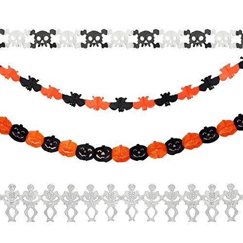 Yuccer Halloween Bunting Kürbis Geist Girlanden Halloween Party Set Dekoration Zum Aufhängen (A 4 Pack)