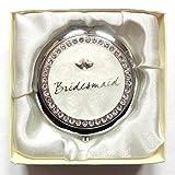 Silver Creme Hochzeitspiegel Kompakt Geschenk Diamante Herzen Miteinander Verflochten Brautjungfer