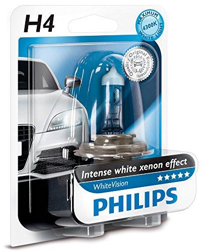 Philips WhiteVision Xenon-Effekt H4 Scheinwerferlampe 12342WHVB1, Einzelblister Philips White Vision