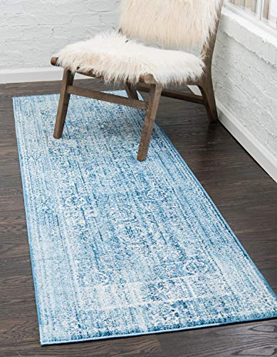 Unique Loom Brighton Collection Modern 3' x 8' Runner Blue/Navy Blue -