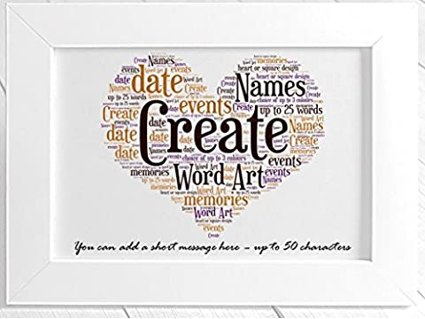 Create Your Own Personalised Framed Heart Word Art. Birthday, Christmas, House warming, Wedding, Special Occasions. Personalised details required during the order process (White)