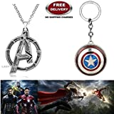 (2 Pcs AVENGERS SET) - AVENGERS SILVER LARGE LOGO IMPORTED METAL PENDANT & CAPTAIN AMERICA REVOLVING KEYCHAIN. LADY HAWK DESIGNER SERIES 2018. ❤ ALSO CHECK FOR LATEST ARRIVALS - NOW ON SALE IN AMAZON - RINGS - KEYCHAINS - NECKLACE - BRACELET &a