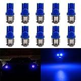 Grandview 10-Pack T10 501 LED Birnen extrem hell 120 Lumen High Power 194 168 5-SMD 5050 LED Innenraum, Armaturenbrett, Nummernschild, Seitenlicht Boot Glühbirnen (12 V) (Blau)