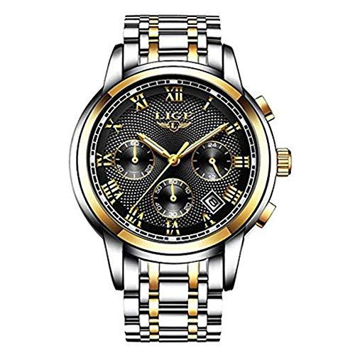 FOVICN Herren Uhr Analog Quarz mit Edelstahl Armband L9810B