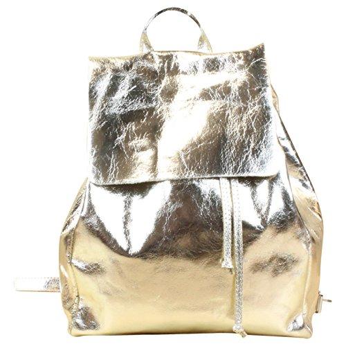 Rucksack Cube Bag Lack Kunst Leder Silber Rosegold, Farbe:Gold Gold