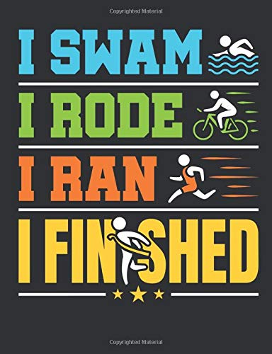 I Swam I Rode I Ran I Finished: Triathlon Notebook, Blank Paperback Book For Triathlete To Write In, 150 pages, college ruled