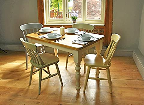 Farmhouse Table (5'x3') Painted legs, Fawley Cream, with an Antique Pine Top