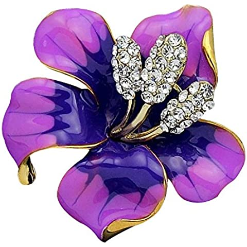 Contever® Púrpura Broche De Flor Con Cristalino para Novia Boda Nupcial