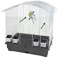 Pet producto distribución alambre jaula de pájaros con 4x comederos/3x perchas/Saca la bandeja, 70x 42,5x 69cm, color plateado