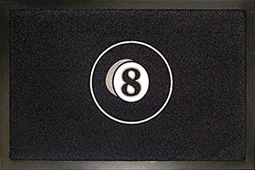 Fußmatte - '8 Ball - Billardkugel - Schwarz' (100732-Nr.4), 60x40cm, rutschfeste Rückseite, mit kleinem gratis Geschenk von Sheepworld oder Tussi on Tour