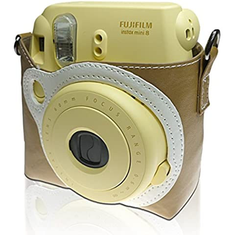 Takashi Protective PU Leather bag with Strap–Caramel for Fujifilm Instax Mini 8Instant