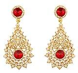 Touchstone indischen Bollywood Strass/rot Faux Ruby Braut Designer Schmuck Ohrringe für Damen in gold Ton