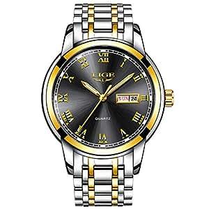 Simple Design Men Watches,Men Luxury Waterproof 30M Wrist Watch Date Calendar Stainless Steel Band Analogue Quartz Business Casual Gents Watch