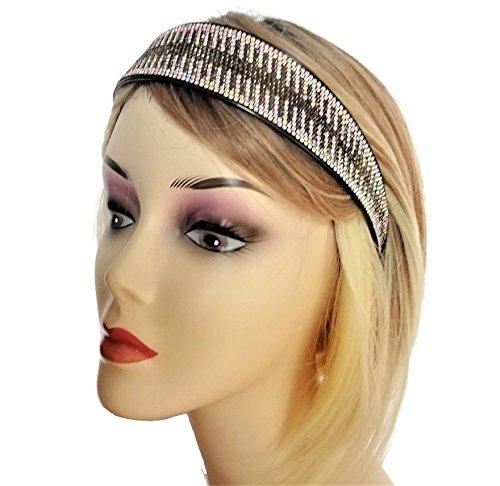 Funkelnd. mit Jeweled Haarband auf einem schwarzen Band mit Zähnen 4cm ab und schwarz Diamant Design