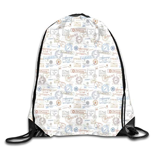 PPOOia Drawstring Backpacks Bags Daypacks,Vintage Old Rubber Stamps Tourist Passport Visa Certificate Vacation Holiday Theme,5 Liter Capacity Adjustable for Sport Gym Traveling Vintage Hard Rubber