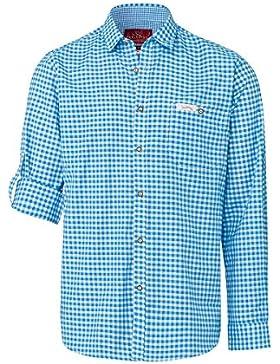 Edelheiss Moser Trachten Trachtenhemd Langarm Blau Karo Robby 005118, Material Baumwolle, Liegekragen