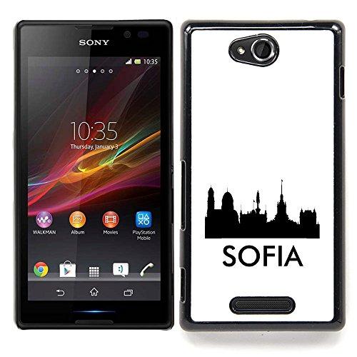 STPlus Sofia, Bulgarien Stadt Skyline Shape Postkarte Harte Hülle Tasche Schutzhülle für Sony Xperia C