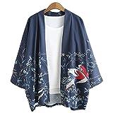 ZooBoo Japanische Kimono Jacke Robe - Traditionelle Klassische Lockere JackeRobe Kostüm Bademantel Nachtwäsche für Frauen Mädchen - Chiffon (Blau)