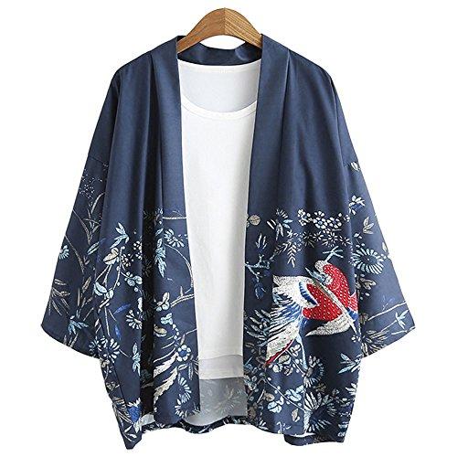 ZooBoo Japanische Kimono Jacke Robe - Traditionelle Klassische Lockere JackeRobe Kostüm Bademantel Nachtwäsche für Frauen Mädchen - Chiffon ()