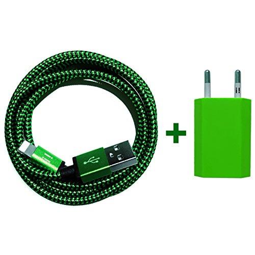 USB Netzteil 5V 1A + 1m Premium Nylon USB 8-Pin Ladekabel Datenkabel Set kompatibel mit [Apple iPhone 10 X 8 8Plus 7 7Plus 6S 6SPlus 6 6Plus 5S 5C 5 SE | iPad | iPod] grün - Generation Ladegerät Ipod Grün 5.