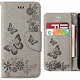 Hülle Huawei P20 Lite Handyhüllen, Ougger Tasche Leder Schutzhülle Schale Weich TPU Silikon Magnetisch-Stehen Flip Cover Tasche Huawei P20 Lite mit Kartensteckplätzen, Schmetterling Streifen (Grau)