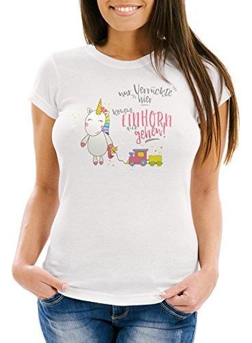 Damen-T-Shirt-Nur-Verrckte-hier-komm-Einhorn-wir-gehen-Unicorn-Sprche-Spruch-Slim-Fit-Moonworks