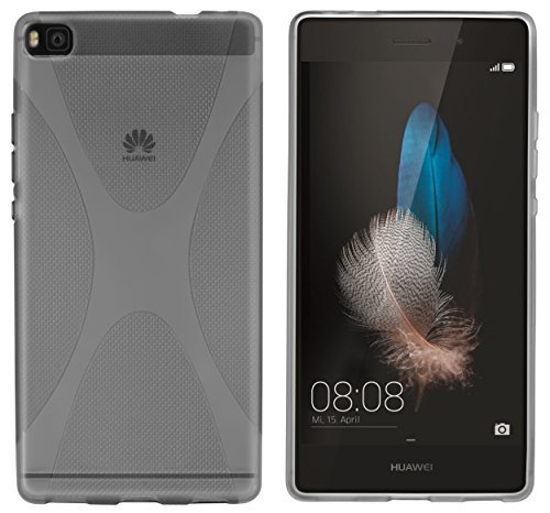 kazoj Schutzhülle Huawei P8 Hülle aus TPU im X-Design in transparent schwarz