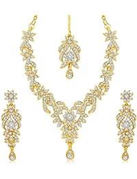 Asmitta Resplendent Gold Plated Necklace Set With Mangtikka For Women