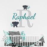 stickers muraux disney chateau Nom personnalisé éléphant papillon pour filles garçons enfants chambre bébé (25cm Hauteur)