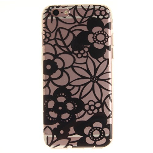 Meet de Slim de Protection Téléphone Case pour Apple iPhone 6 6S, Apple iPhone 6 6S Bumper Case Coque, Apple iPhone 6 6S Slim TPU Transparent Silicone Housse Etui pour Apple iPhone 6 6S - violet black Flowers