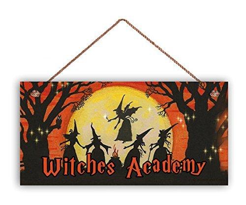 Widches Academy Schild rustikales Halloweenschild 5 x 10 Holiday Door Sign Spooky Sign Magic Spell Halloween Night Lustiges Zitat Schild Home Craft Sign for Women Men