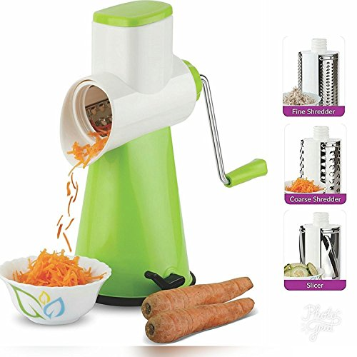 Queen ChefTM Vegetable Grater Slicer, Rotary Drum Fruit Cutter Cheese Shredder with 3 Stainless Steel Rotary Blades and Suction Cup Feet, Green