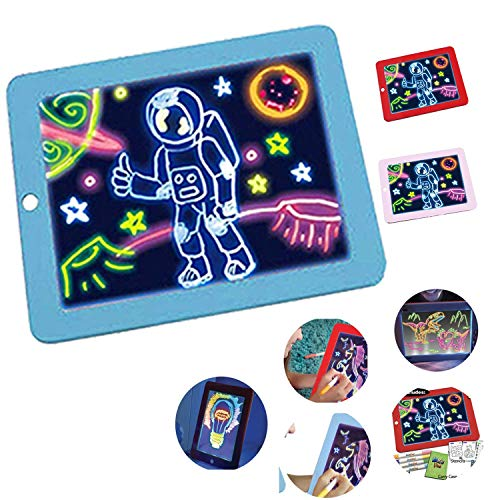 LED 3D Magic Drawing Pad Kinder Sketchpad Puzzle Glühendes Brett Rätsel Brett Mehrere Glowing-Effekt-Geschenk Für Kinder In Der Schule Startseite Zeichnen Reisen Und Mehr Alter 3+ Blue
