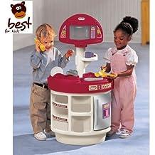 Little Tikes 414510060 - ELECTRÓNICA Cocina y Aprendizaje divertido cocina Cocinita con Microondas y Teléfono CALIDAD JUGUETE + Alimentos Set